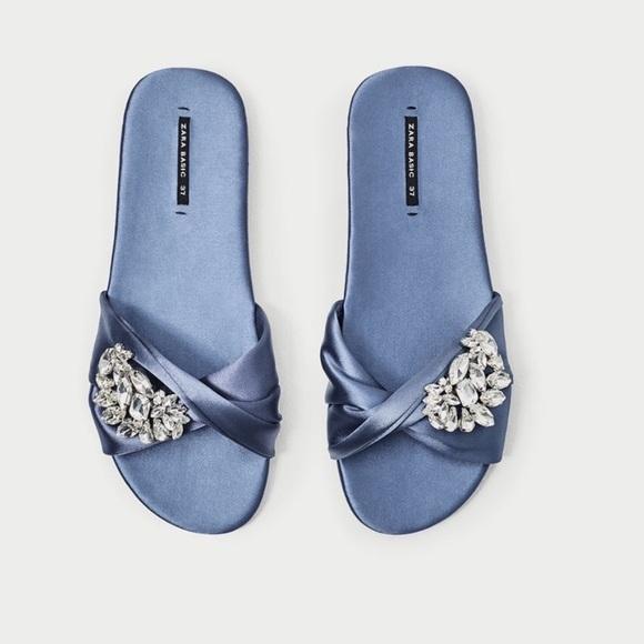 NWT Zara Blue Satin Jewel Sandals